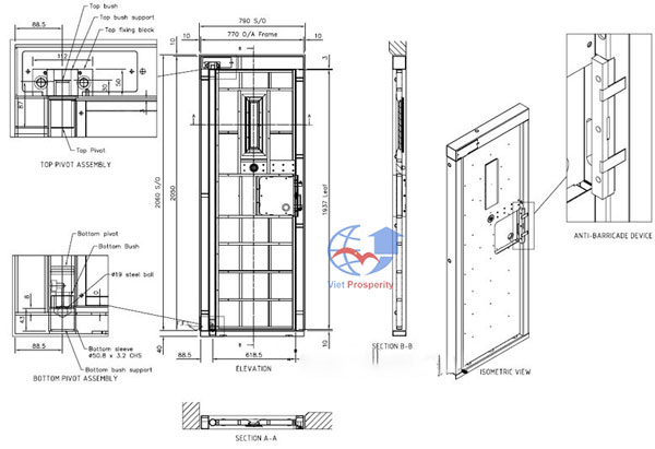 cấu tạo cửa thép chống cháy 90 phút
